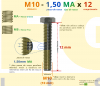 PARAFUSO SEXTAVADO ROSCA INTEIRA M10 1,50 MA X 12 DIN 933 INOX A2