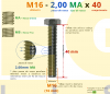 PARAFUSO SEXTAVADO ROSCA INTEIRA M16 2,00 MA X 40 DIN 933 INOX A4