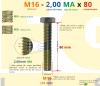 PARAFUSO SEXTAVADO ROSCA INTEIRA M16 2,00 MA X 80 DIN 933 INOX A4