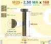 PARAFUSO SEXTAVADO ROSCA INTEIRA M20 2,50 MA X 160 DIN 933 INOX A2