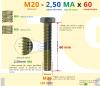 PARAFUSO SEXTAVADO ROSCA INTEIRA M20 2,50 MA X 60 DIN 933 INOX A4