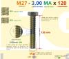 PARAFUSO SEXTAVADO ROSCA INTEIRA M27 3,00 MA X 120 DIN 933 INOX A4