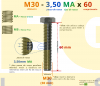 PARAFUSO SEXTAVADO ROSCA INTEIRA M30 3,50 MA X 60 DIN 933 INOX A4