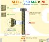 PARAFUSO SEXTAVADO ROSCA INTEIRA M33 3,50 MA X 70 DIN 933 INOX A4