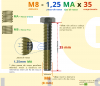 PARAFUSO SEXTAVADO ROSCA INTEIRA M8 1,25 MA X 35 DIN 933 INOX A4