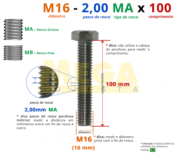 PARAFUSO SEXTAVADO ROSCA INTEIRA M16 2,00 MA X 100 DIN 933 INOX A4