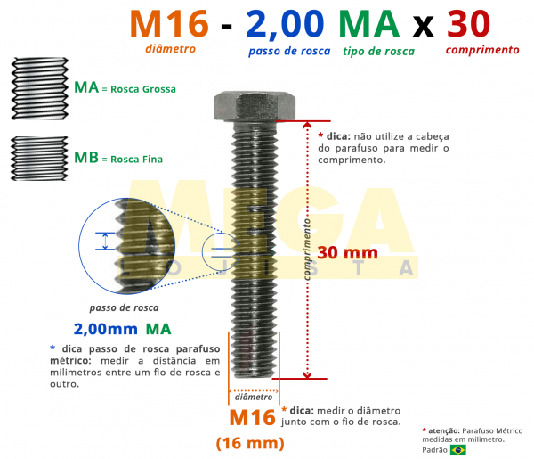 PARAFUSO SEXTAVADO ROSCA INTEIRA M16 2,00 MA X 30 DIN 933 INOX A4
