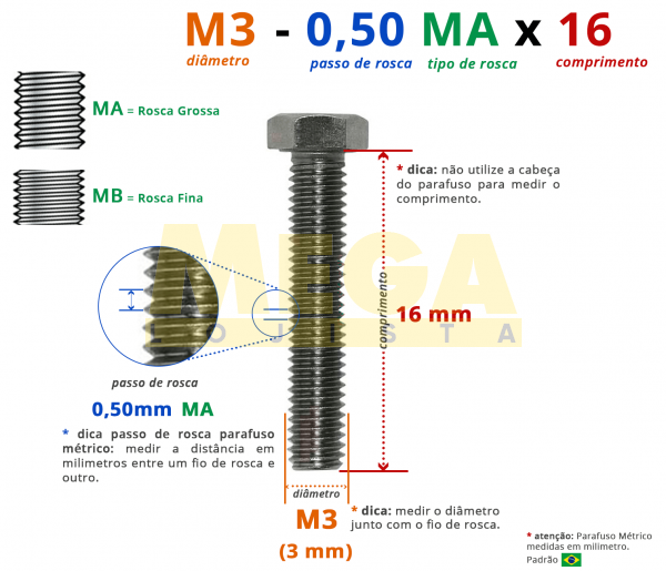 PARAFUSO SEXTAVADO ROSCA INTEIRA M3 0,50 MA X 16 DIN 933 INOX A2