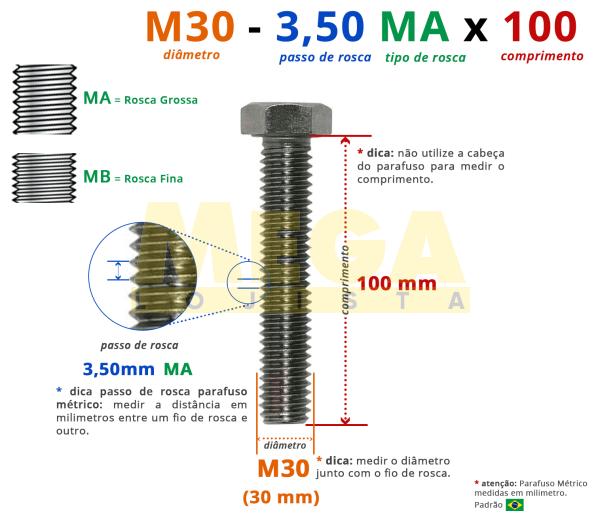 PARAFUSO SEXTAVADO ROSCA INTEIRA M30 3,50 MA X 100 DIN 933 INOX A4