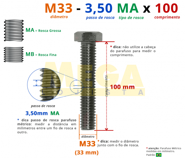 PARAFUSO SEXTAVADO ROSCA INTEIRA M33 3,50 MA X 100 DIN 933 INOX A4