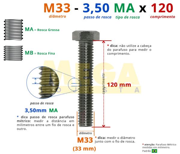 PARAFUSO SEXTAVADO ROSCA INTEIRA M33 3,50 MA X 120 DIN 933 INOX A4