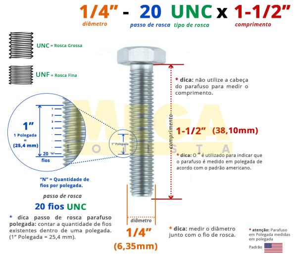 PARAFUSO SEXTAVADO ROSCA INTEIRA 1/4 20-UNC X 1-1/2 ASME B18.2.1 AÇO CARBONO GRAU 2 ZINCADO BRANCO