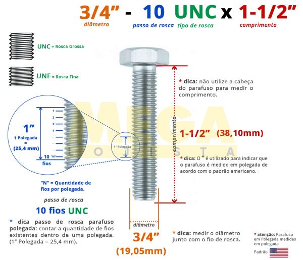 """PARAFUSO SEXTAVADO ROSCA INTEIRA 3/4"""" 10-UNC X 1-1/2"""" ASME B18.2.1 AÇO CARBONO GRAU 2 ZINCADO BRANCO"""