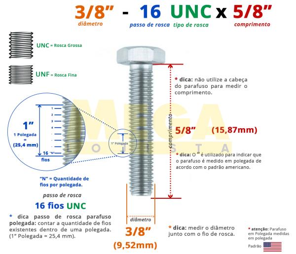 """PARAFUSO SEXTAVADO ROSCA INTEIRA 3/8"""" 16-UNC X 5/8"""" ASME B18.2.1 AÇO CARBONO GRAU 2 ZINCADO BRANCO"""