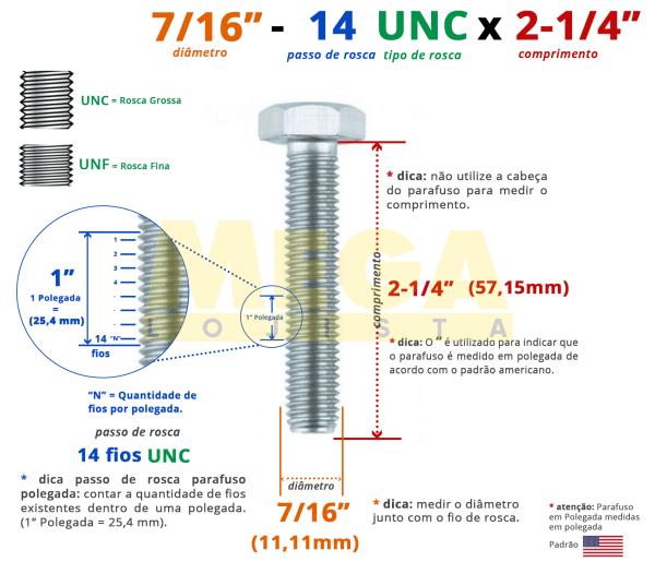 """PARAFUSO SEXTAVADO ROSCA INTEIRA 7/16"""" 14-UNC X 2-1/4"""" ASME B18.2.1 AÇO CARBONO GRAU 2 ZINCADO BRANCO"""
