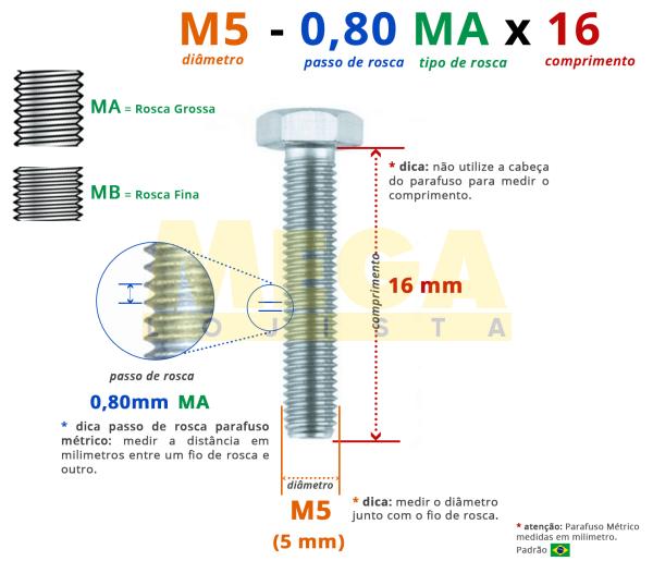 PARAFUSO SEXTAVADO ROSCA INTEIRA M5 0,80 MA X 16 DIN 933 AÇO CARBONO CLASSE 5.8 ZINCADO BRANCO