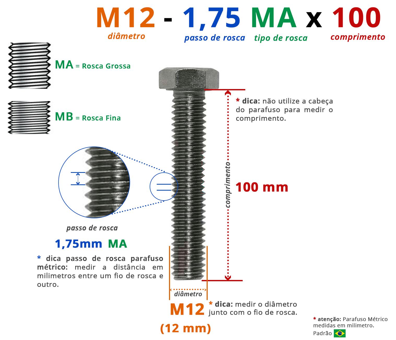 PARAFUSO SEXTAVADO ROSCA INTEIRA M12 1,75 MA X 100 DIN 933 INOX A4