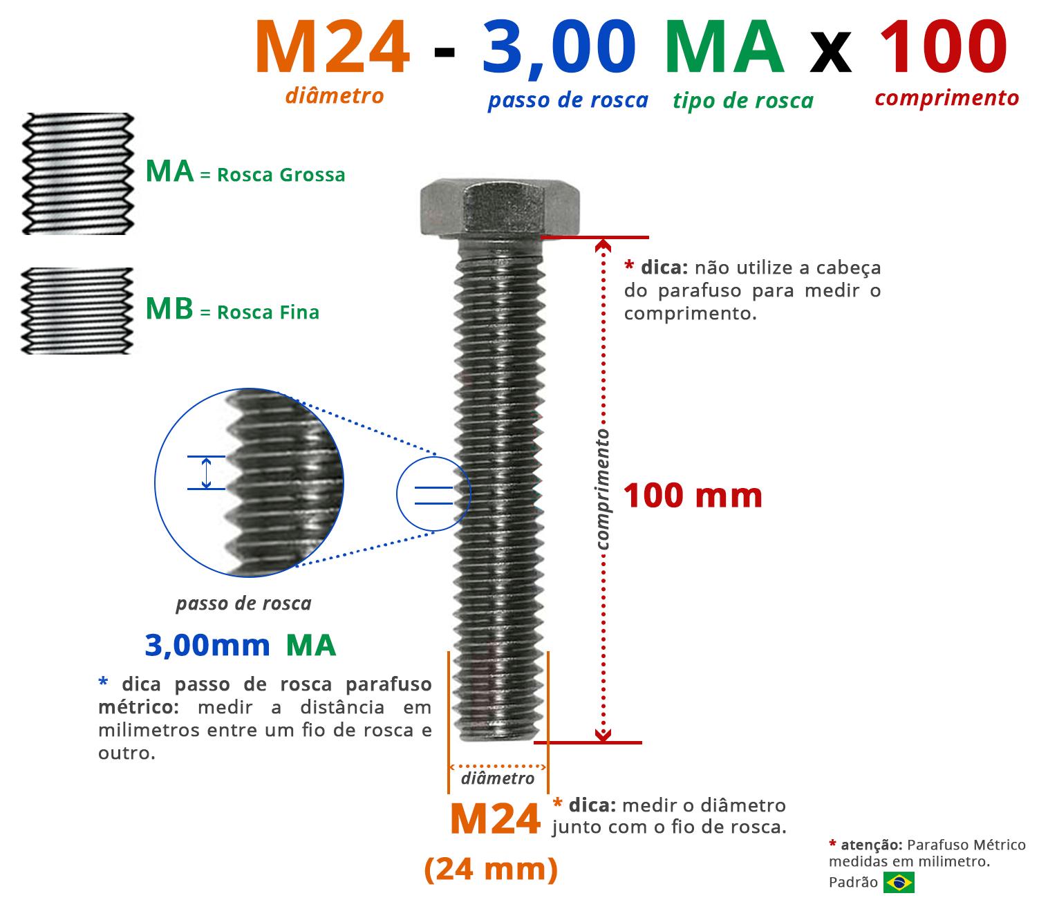 PARAFUSO SEXTAVADO ROSCA INTEIRA M24 3,00 MA X 100 DIN 933 INOX A4