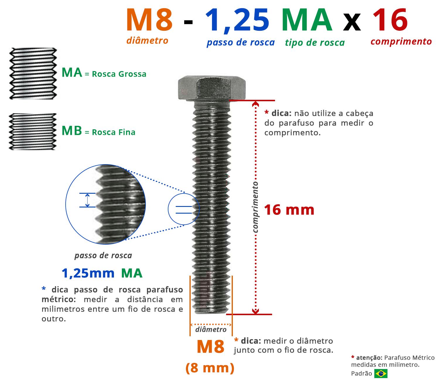 PARAFUSO SEXTAVADO ROSCA INTEIRA M8 1,25 MA X 16 DIN 933 INOX A4