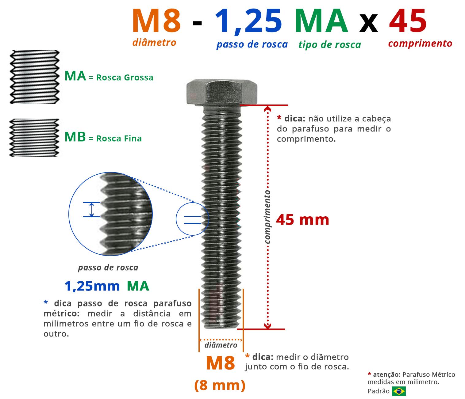 PARAFUSO SEXTAVADO ROSCA INTEIRA M8 1,25 MA X 45 DIN 933 INOX A4