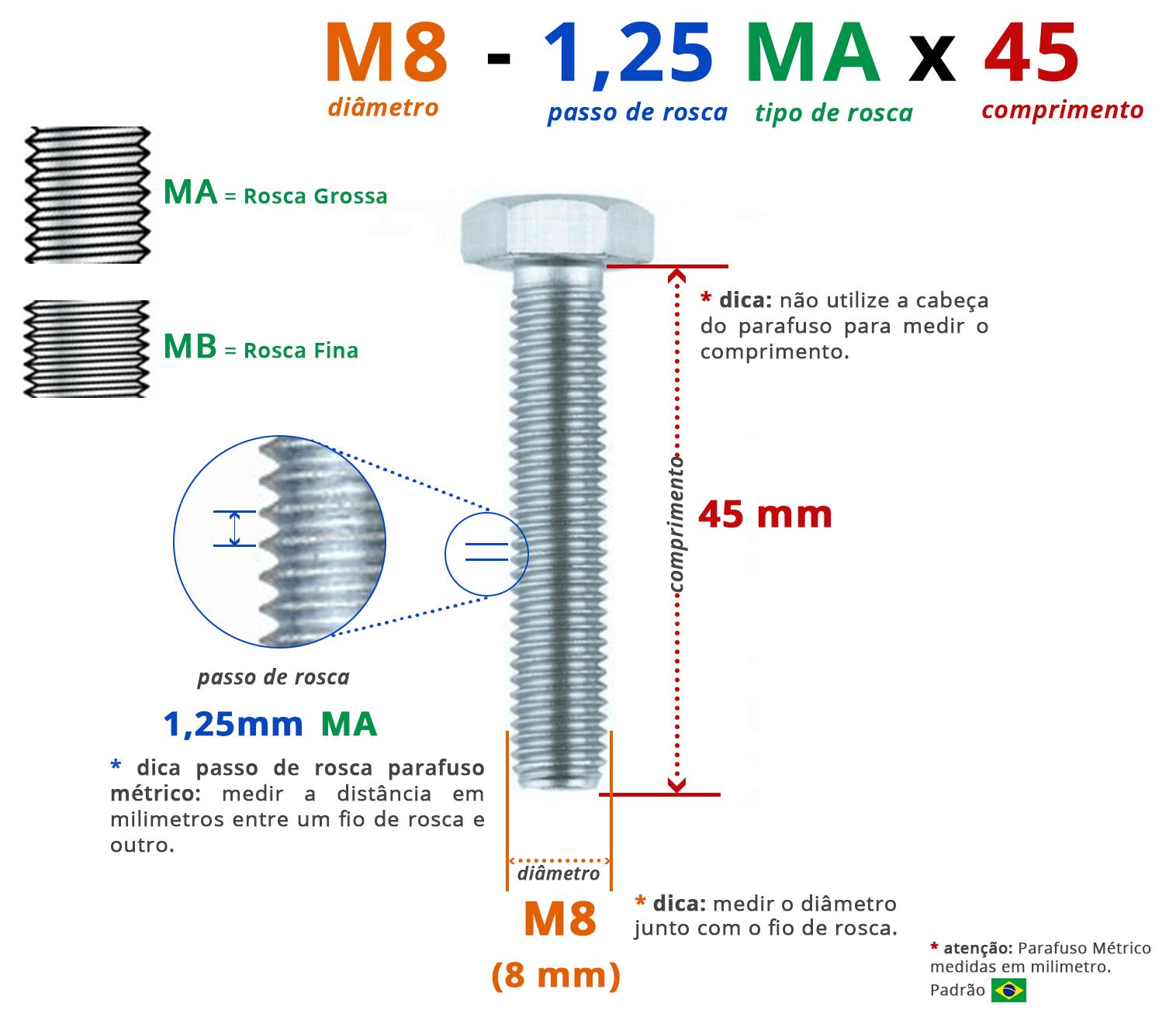 PARAFUSO SEXTAVADO ROSCA INTEIRA M8 1,25 MA X 45 DIN 933 AÇO CARBONO CLASSE 5.8 ZINCADO BRANCO